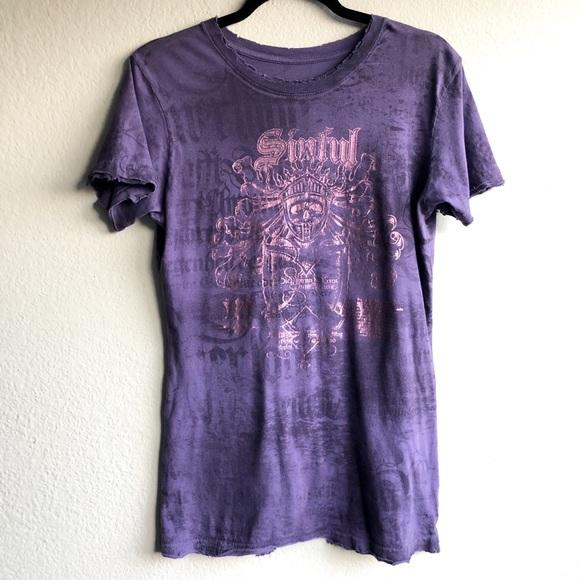 Sinful Tops - Sinful Purple Pink Foil Print Tee T-shirt Top XL